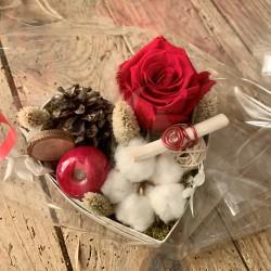 Composition coeur rose éternelle rouge