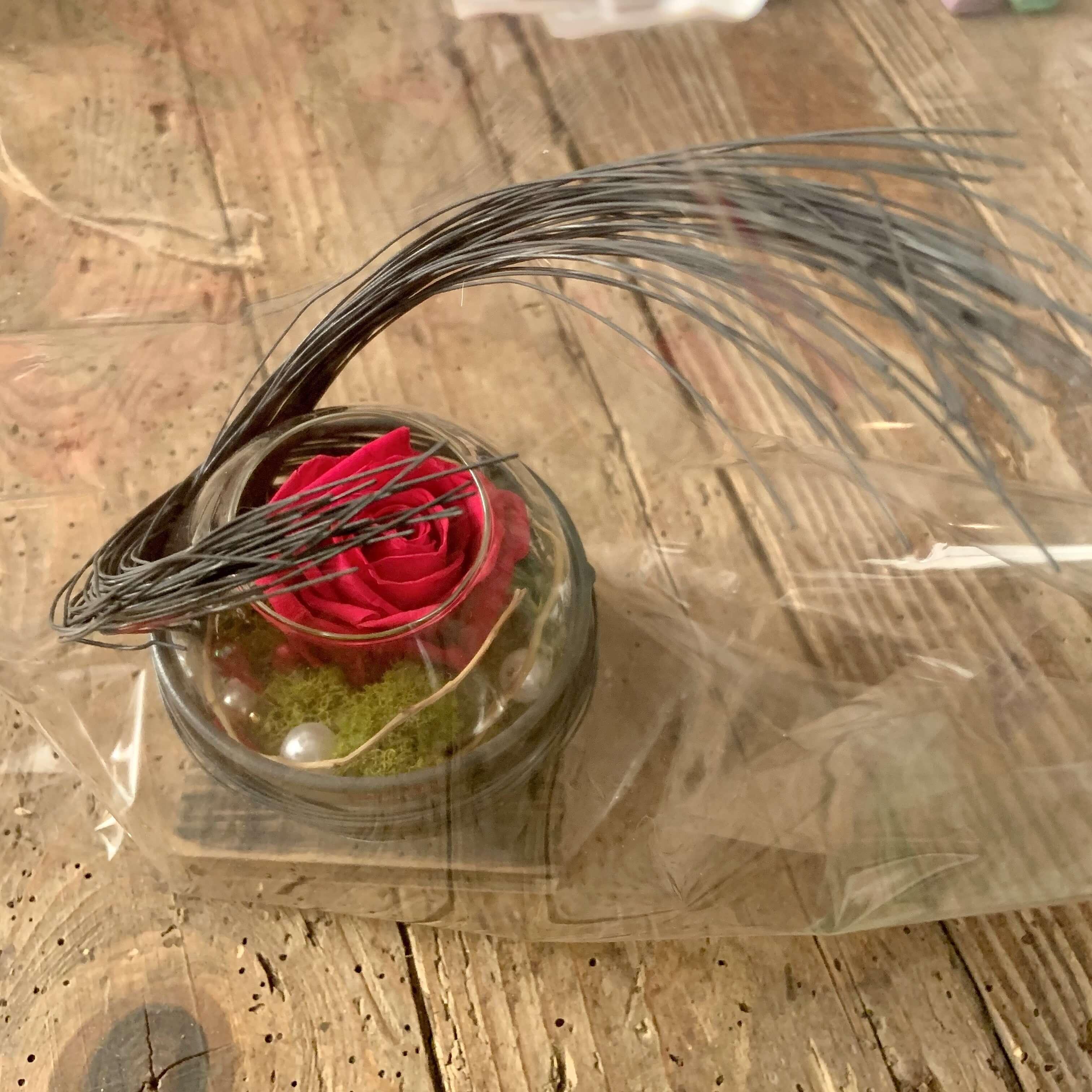 Composition verine&fils de fer, rose éternelle rouge
