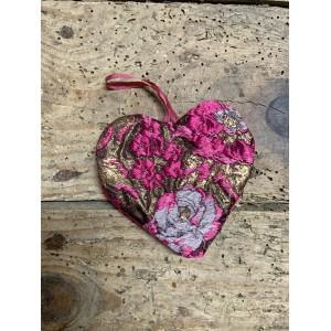 Coeur rose, lilas & or