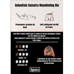 Café Bio Indonésie Sumatra Mandheling . En grains. Les 250g